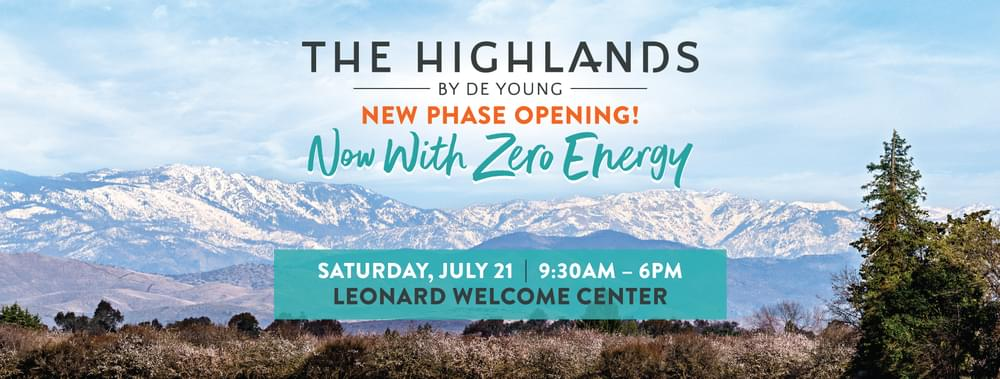 New Zero Energy Homesites Releasing THIS SATURDAY at The Highlands by DeYoung!