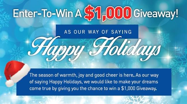 Enter To WIN $1,000 From DeYoung As Our Way Of Saying THANK YOU!